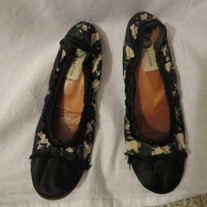 LANVIN BLACK LEATHER TAN SATIN BALLET FLATS 6.5